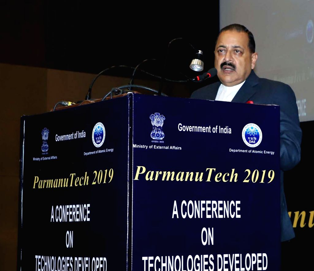 Union MoS Atomic Energy and Space Jitendra Singh addresses during the 'Paramanu Tech 2019' Conference in New Delhi, on Feb 6, 2019. - Jitendra Singh