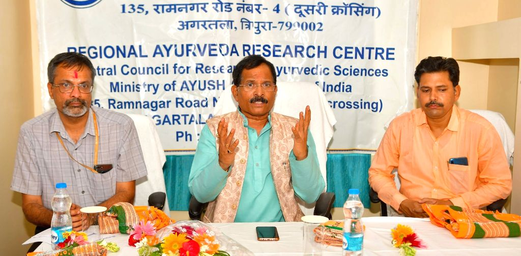 Union MoS AYUSH (I/C) Shripad Yesso Naik addresses during his visit to the Regional Ayurveda Research centre, in Agartala's Tripura on August 27, 2019.
