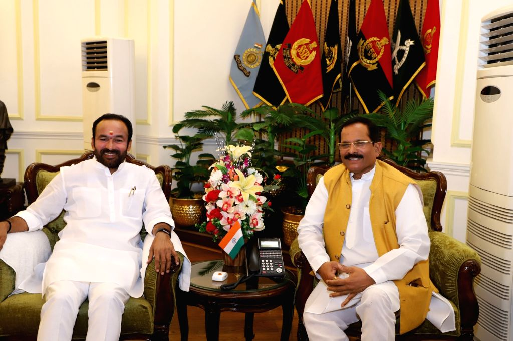 Union MoS AYUSH (Independent Charge) and Defence Shripad Yesso Naik meets Union MoS Home Affairs G. Kishan Reddy, in New Delhi on July 26, 2019.