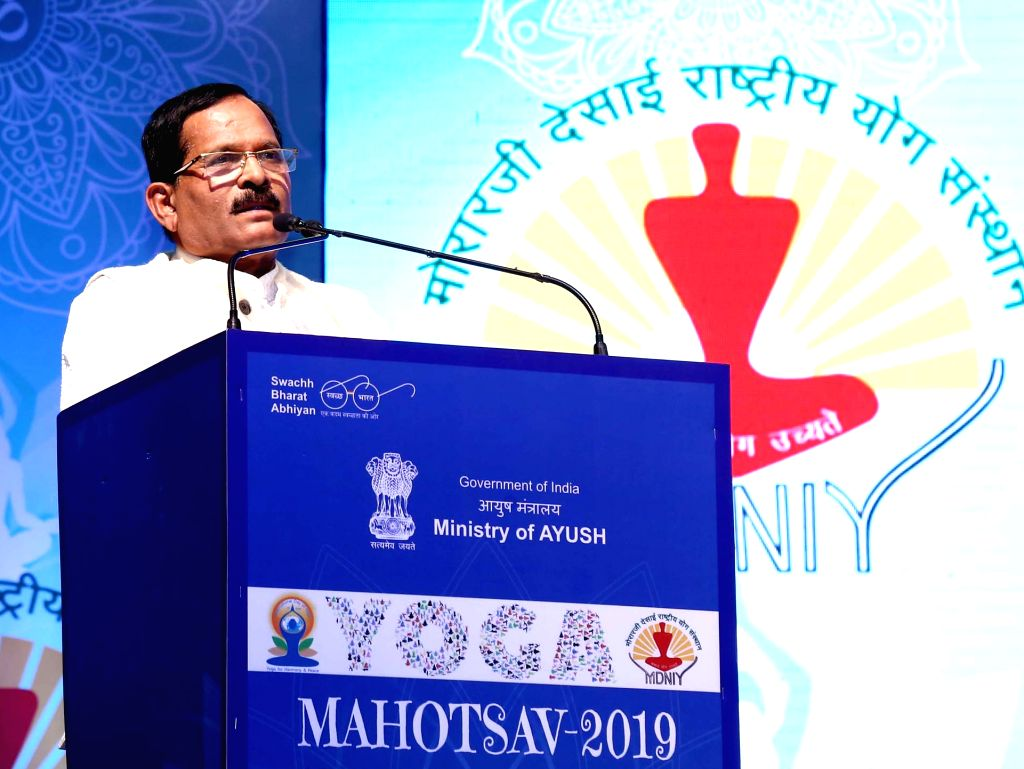 Union MoS AYUSH (Independent Charge) Shripad Yesso Naik addresses at the inauguration of Yoga Mahotsav, in New Delhi on June 1, 2019.