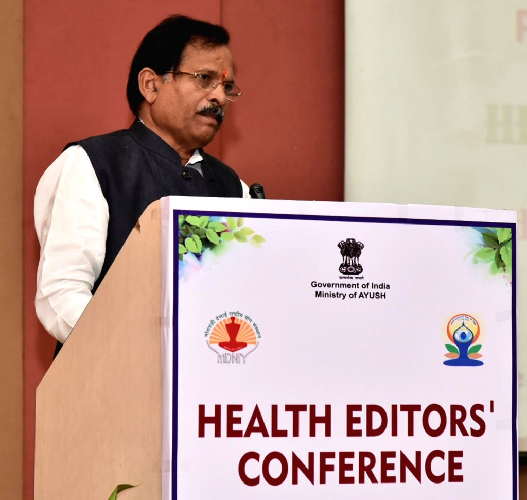 Union MoS AYUSH Shripad Yesso Naik addresses during National Health Editors' Conference on Yoga, in New Delhi on June 5, 2018.