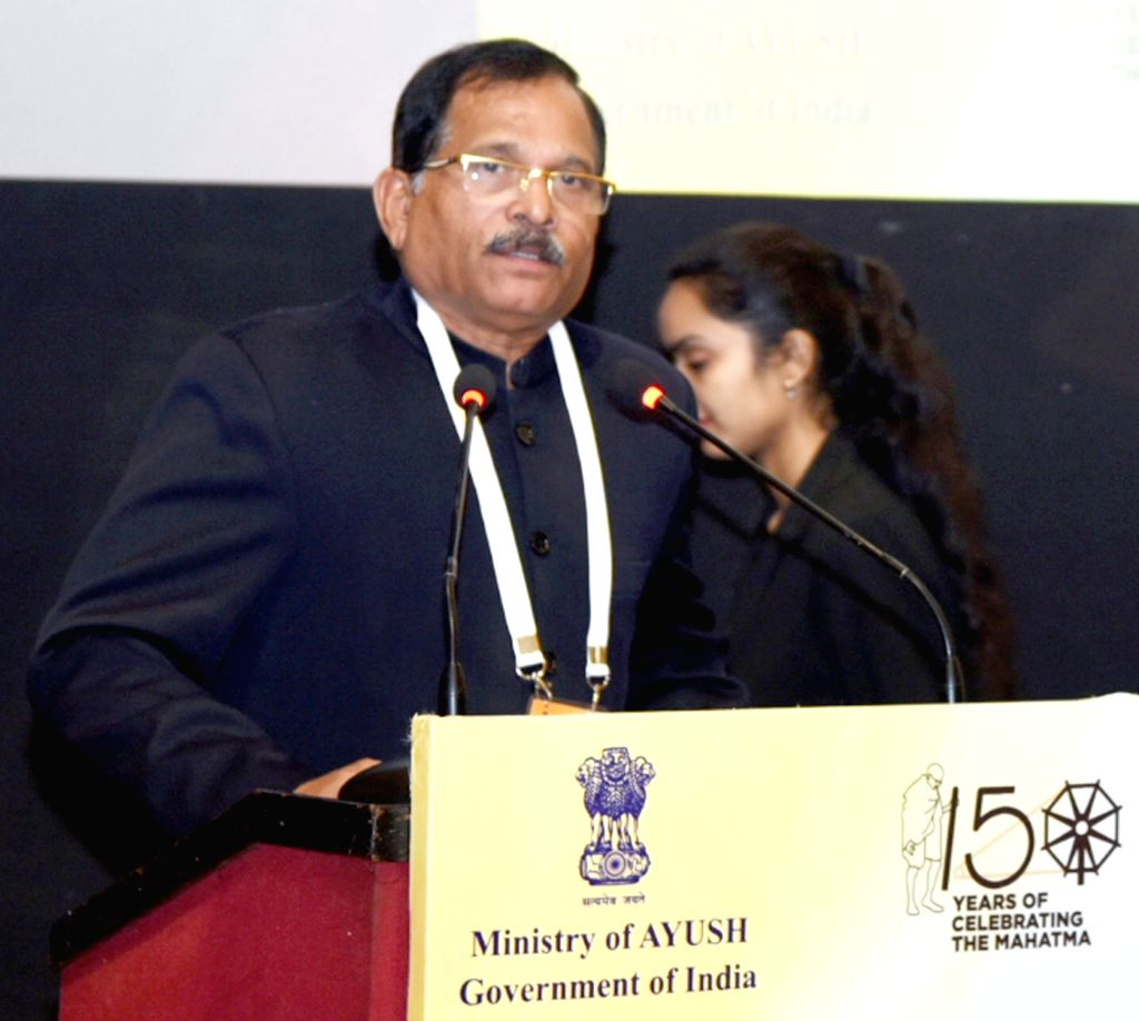 Union MoS AYUSH Shripad Yesso Naik addresses at the Fourth Conference of State AYUSH/Health Ministers, in New Delhi, on Feb 6, 2019.