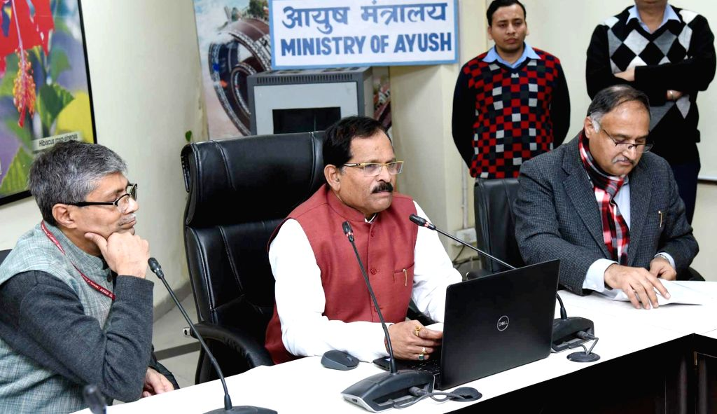 Union MoS AYUSH Shripad Yesso Naik addresses at the launch of the e-AUSHADHI Portal for Online Licensing System on AYUSH Drugs in New Delhi, on Feb 13, 2019.