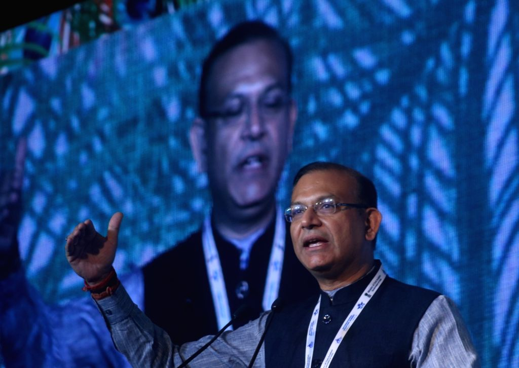 Union MoS Civil Aviation Jayant Sinha addresses during International Aviation Summit, in New Delhi on Sept 4, 2018. - Aviation Jayant Sinha