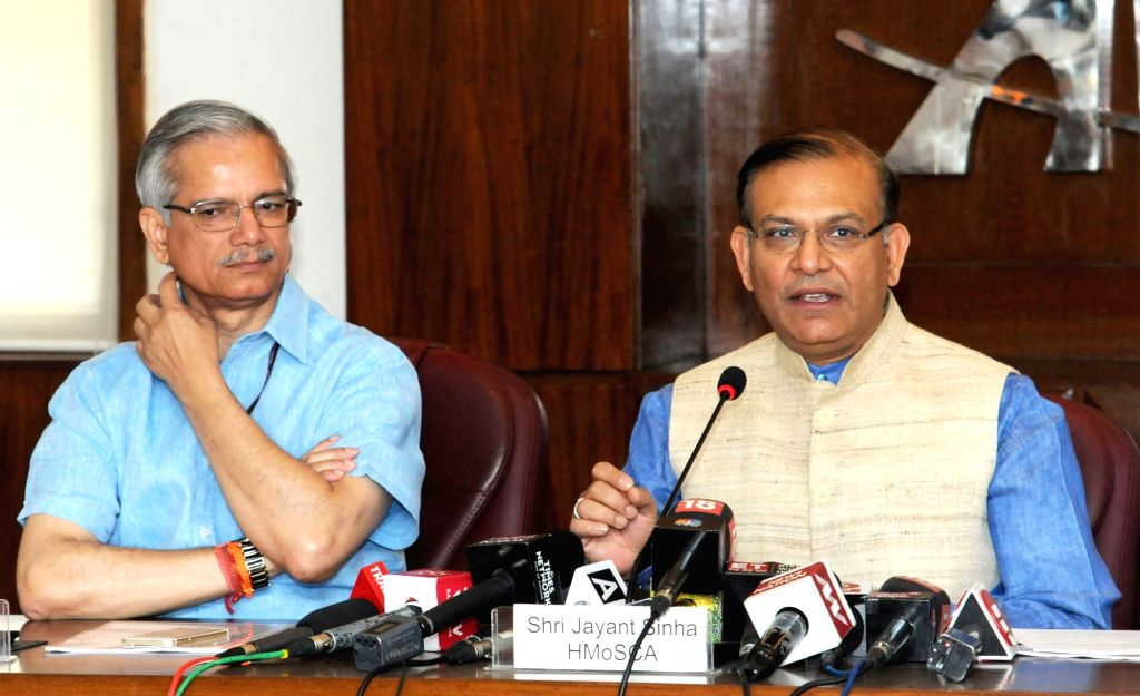 Union MoS Civil Aviation Jayant Sinha briefs the media on the proposed Passenger Charter and aspects of Air Sewa, in New Delhi on May 22, 2018. Also seen Ministry of Civil Aviation ... - Aviation Jayant Sinha