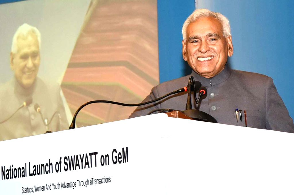 Union MoS Commerce and Industry C.R. Chaudhary addresses at the launch of the 'SWAYATT' (Startups, Women and Youth Advantage Through eTransactions) on Government e Marketplace (GeM) in New ... - R. Chaudhary