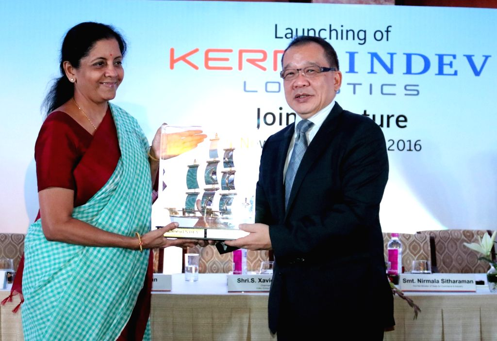 """Union MoS Commerce and Industry Nirmala Sitharaman during a programme organised to launch """"KERRYINDEV Logistics"""" - a joint venture of Kerry and Indev in New Delhi, on April 13, ..."""