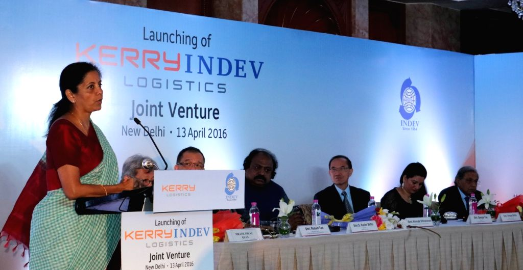 """Union MoS Commerce and Industry Nirmala Sitharaman addresses during a programme organised to launch """"KERRYINDEV Logistics"""" - a joint venture of Kerry and Indev in New Delhi, on ..."""