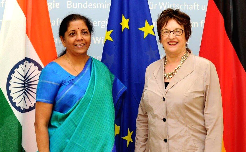 Union MoS Commerce and Industry Nirmala Sitharaman during a meeting with Federal Minister for Economic Affairs and Energy, Germany, Brigitte Zypries, in Berlin, Germany on May 29, 2017.