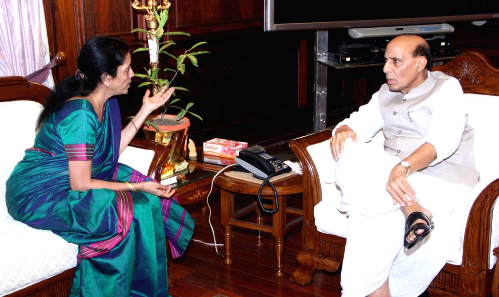 Union MoS Commerce & Industry (Independent Charge), Finance and Corporate Affairs, Nirmala Sitharaman calls on Union Home Minister Rajnath Singh in New Delhi on September 05, 2014.