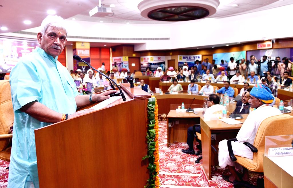 Union MoS Communication and Railways Manoj Sinha addresses at the presentation of Bharat Sanchar Seva Awards, in New Delhi on July 11, 2018. - Manoj Sinha