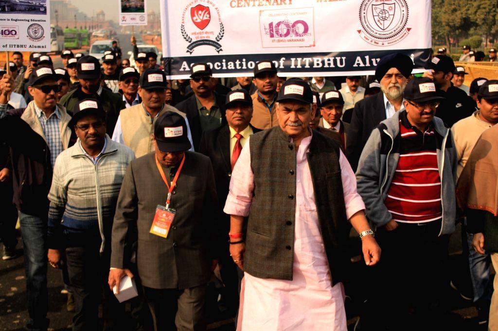 Union MoS Communications and Railways Manoj Sinha leads the nationwide 'IIT BHU Centenary Celebration Walks' from Central Secretariat metro station to India Gate in New Delhi on Dec 23, ... - Manoj Sinha