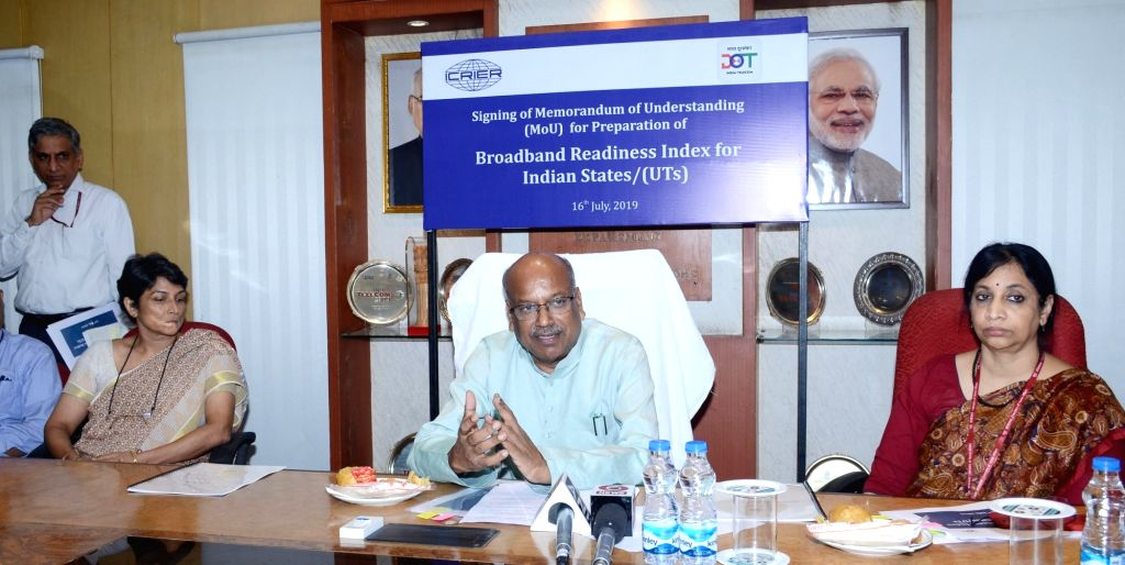 Union MoS Communications Dhotre Sanjay Shamrao addresses at the signing ceremony of Memorandum of Understanding (MoU) for preparation of Broadband Readiness Index for States/UTS, in New ...