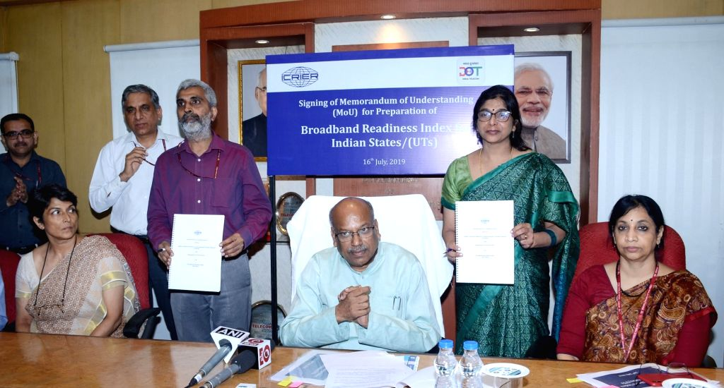 Union MoS Communications Dhotre Sanjay Shamrao witnesses the signing ceremony of Memorandum of Understanding (MoU) between Department of Telecommunications (DoT) and Indian Council for ...