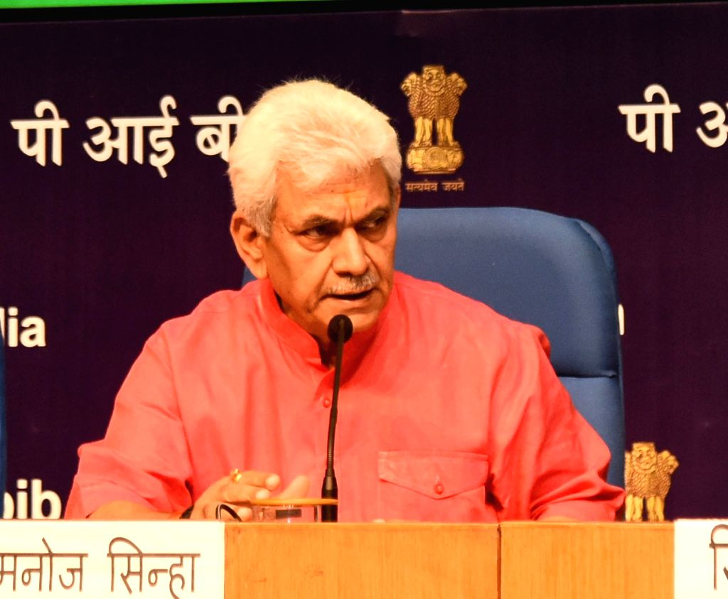 Union MoS Communications Manoj Sinha addresses a press conference on the achievements of the Ministry of Communications in the last four years, in New Delhi on June 12, 2018. - Manoj Sinha