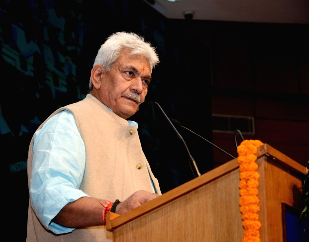 Union MoS Communications Manoj Sinha addresses at the launch of the internet banking facility for POSB customers and e-commerce portal, in New Delhi, on Dec 14, 2018. - Manoj Sinha