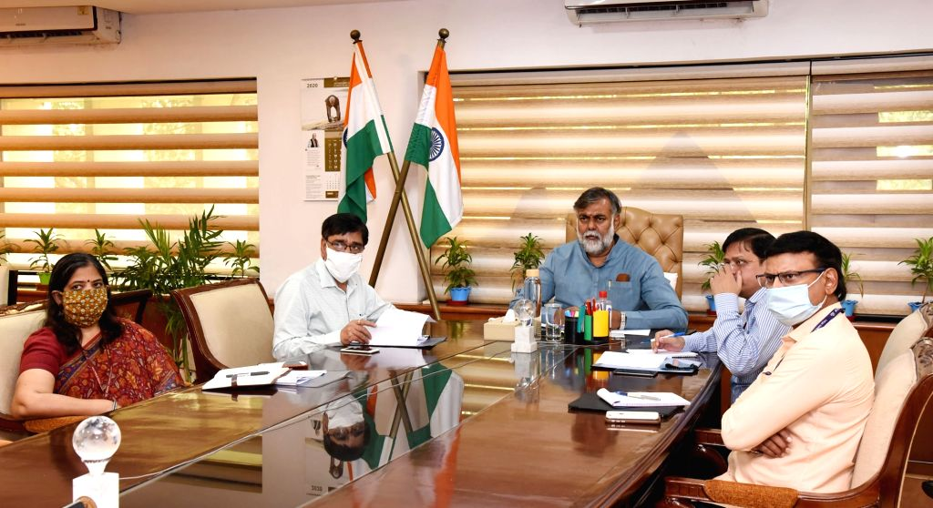 Union MoS Culture and Tourism (Independent Charge) Prahlad Singh Patel holding a meeting with the stakeholders of hospitality sector through video conferencing, in New Delhi on Aug 11, ... - Prahlad Singh Patel
