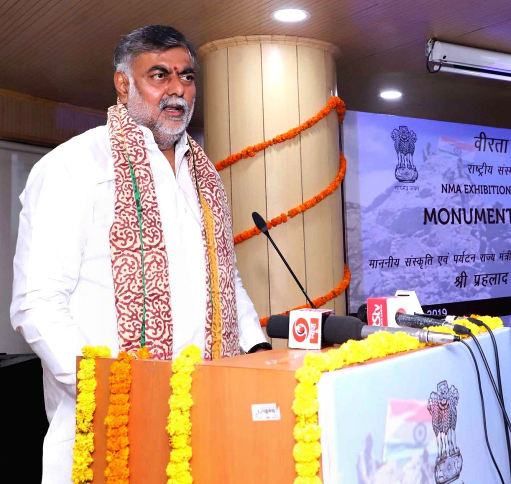 Union MoS Culture and Tourism (Independent Charge) Prahalad Singh Patel addresses at the inauguration of an exhibition on the 20th Anniversary of Kargil Vijay Diwas, in New Delhi on July ... - Prahalad Singh Patel