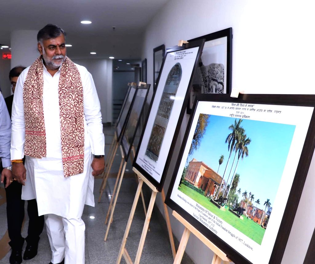 Union MoS Culture and Tourism (Independent Charge) Prahalad Singh Patel visits an exhibition on the 20th Anniversary of Kargil Vijay Diwas, in New Delhi on July 26, 2019. - Prahalad Singh Patel