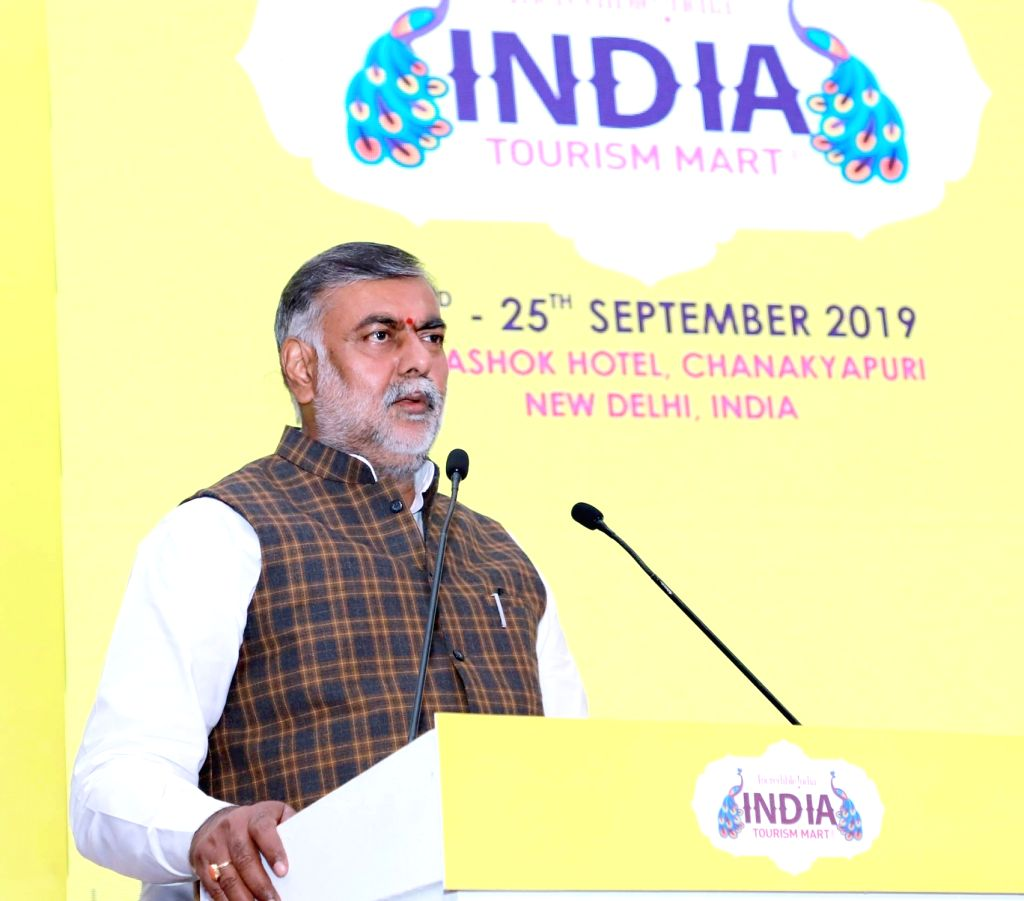 Union MoS Culture and Tourism (Independent Charge) Prahlad Singh Patel addresses the curtain raiser press conference on Indian Tourism Mart, in New Delhi on Sep 23, 2019. - Prahlad Singh Patel