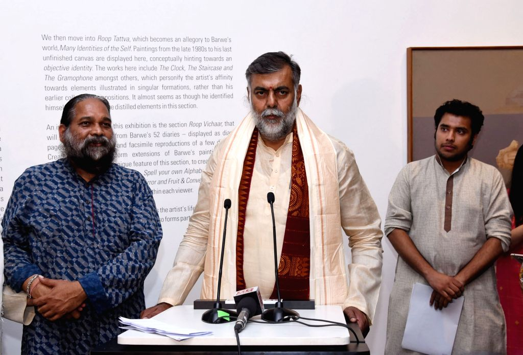 Union MoS Culture and Tourism Prahalad Singh Patel addresses at the inauguration of the exhibition titled ???Astitva: The Essence of Prabhakar Barwe???, in New Delhi on June 13, 2019. - Prahalad Singh Patel