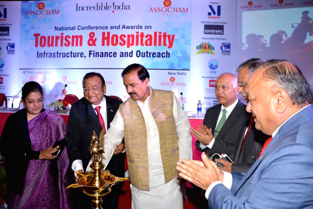 """Union MoS Culture Dr. Mahesh Sharma during inauguration of ASSOCHAM Conference on """"Tourism and Hospitality, Infrastructure and Outreach"""" in New Delhi, on Feb 15, 2018. - Mahesh Sharma"""