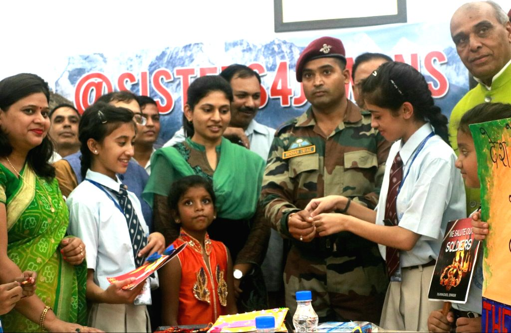 Union MoS Defence Subhash Bhamre during a programme to celeberate Raksha Bandhan in New Delhi on Aug 2, 2017.