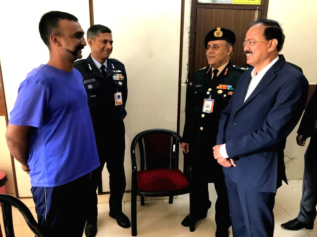 Union MoS Defence Subhash Bhamre meets IAF Wing Commander Abhinandan Varthaman at an armed forces medical facility in New Delhi on March 3, 2019. Abhinandan, who returned home on Friday, ...