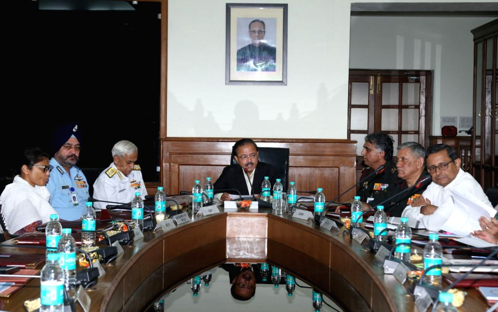 Union MoS Defence Subhash Ramrao Bhamre chairs the Central Advisory Committee meeting of the National Cadet Corps (NCC) in New Delhi, on July 4, 2017. Also seen Army chief General Bipin ... - Sushmita Dev