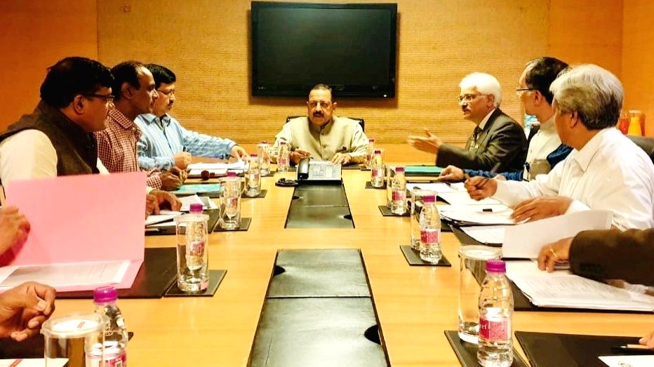Union MoS Department of Atomic Energy and Department of Space Jitendra Singh presides over a meeting with senior scientists and officials from the Department of Atomic Energy, in Mumbai on ... - Jitendra Singh