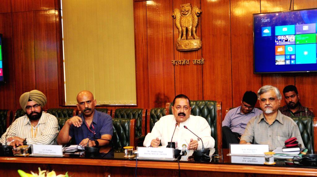 Union MoS Development of North Eastern Region (I/C) Jitendra Singh addresses a press conference in New Delhi on Aug 16, 2017. - Jitendra Singh