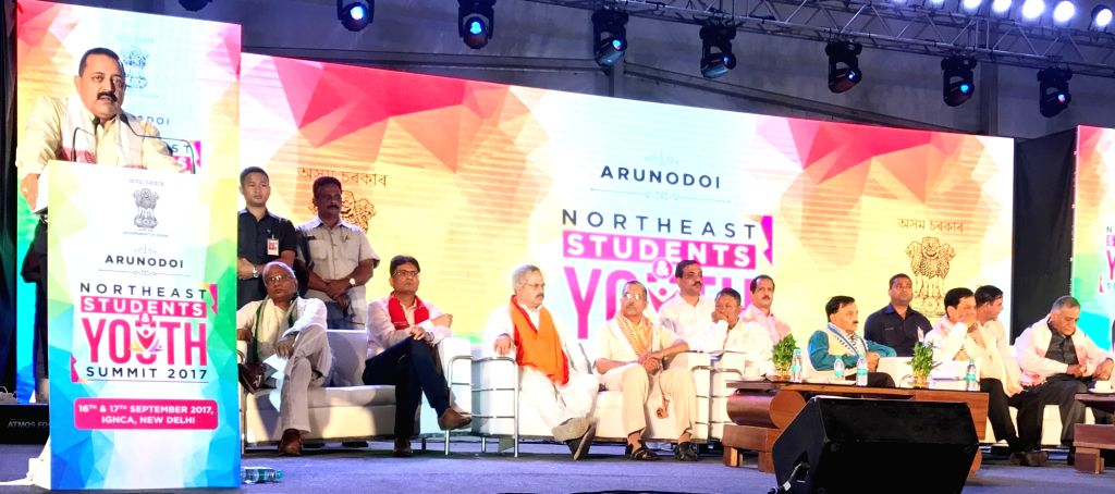 Union MoS Development of North Eastern Region (I/C) Jitendra Singh addresses at the inaugural session of the two-day Northeast Students and Youth Summit 2017 in New Delhi on Sept 16, 2017. ... - Sarbananda Sonowal, Jitendra Singh and K. Singh