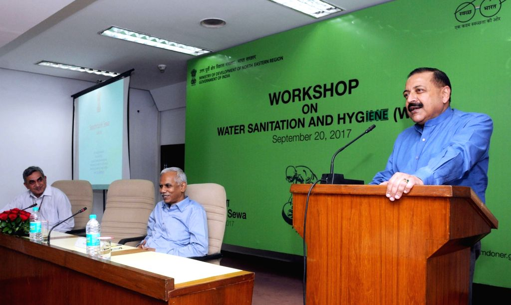Union MoS Development of North Eastern Region (I/C) Jitendra Singh addresses at a workshop on 'Water Sanitation and Hygiene' under 'Swachhta Hi Sewa' campaign by the Ministry of ... - Jitendra Singh and Naveen Verma