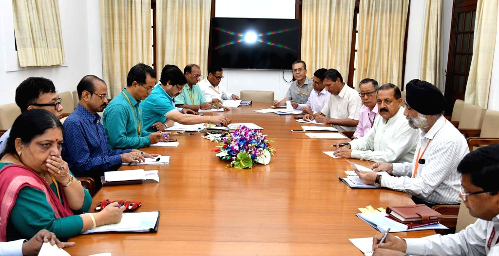 Union MoS Development of North Eastern Region (I/C) Jitendra Singh chairs a review meeting with the officials of Ministry of DoNER and North Eastern Council (NEC), in New Delhi on July 26, ... - Jitendra Singh
