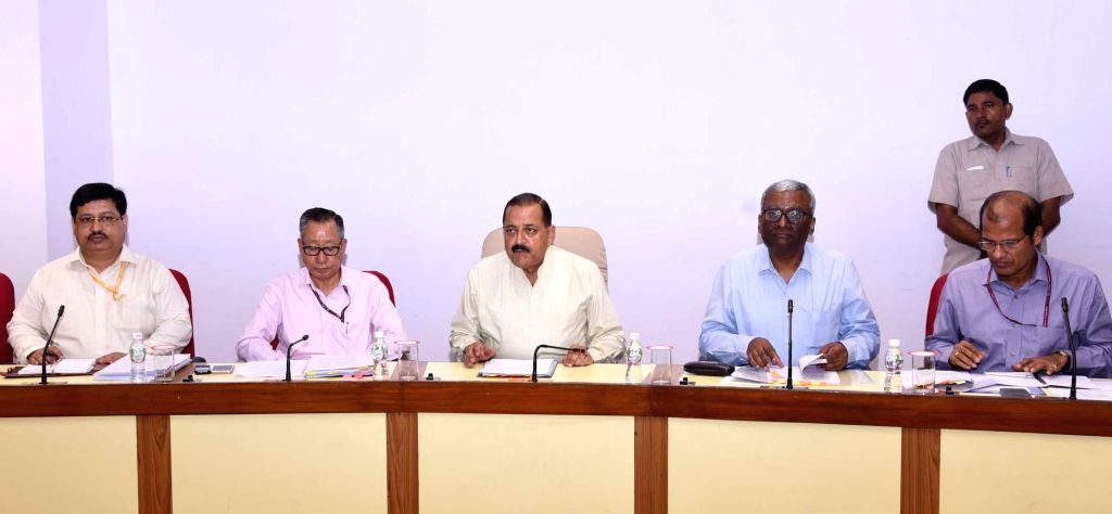 Union MoS Development of North Eastern Region (I/C) Jitendra Singh chairs the review meeting of the Ministry of Development of North Eastern Region (DoNER), in New Delhi on Aug 29, 2019. Also seen ... - Jitendra Singh