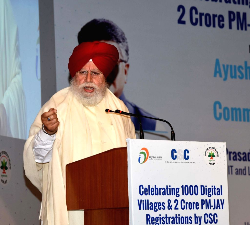 Union MoS Electronics and Information Technology S.S. Ahluwalia addresses at a workshop on 'CSC Empowering Citizens under Digital India' in New Delhi on March 9, 2019.