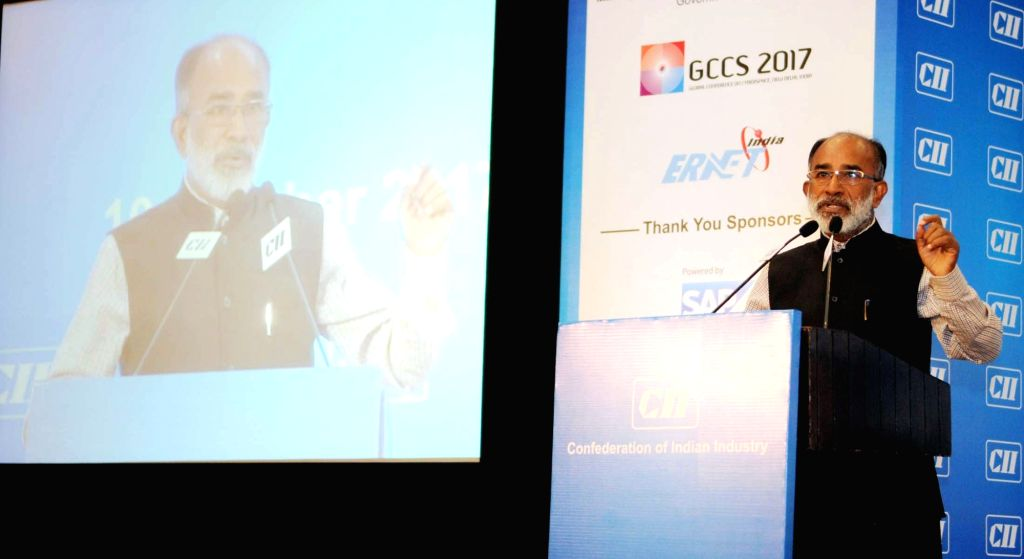Union MoS Electronics and IT Alphons Kannanthanam addresses at the second edition of CII National IOT Summit 2017 in New Delhi on Oct 10, 2017.