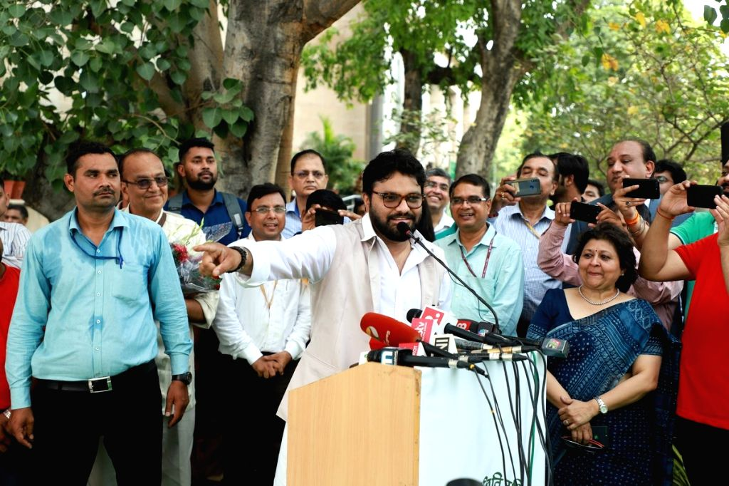 Union MoS Environment, Forest and Climate Change Babul Supriyo addresses at a programme on World Environment Day, at Indira Paryavaran Bhawan in New Delhi on June 5, 2019.