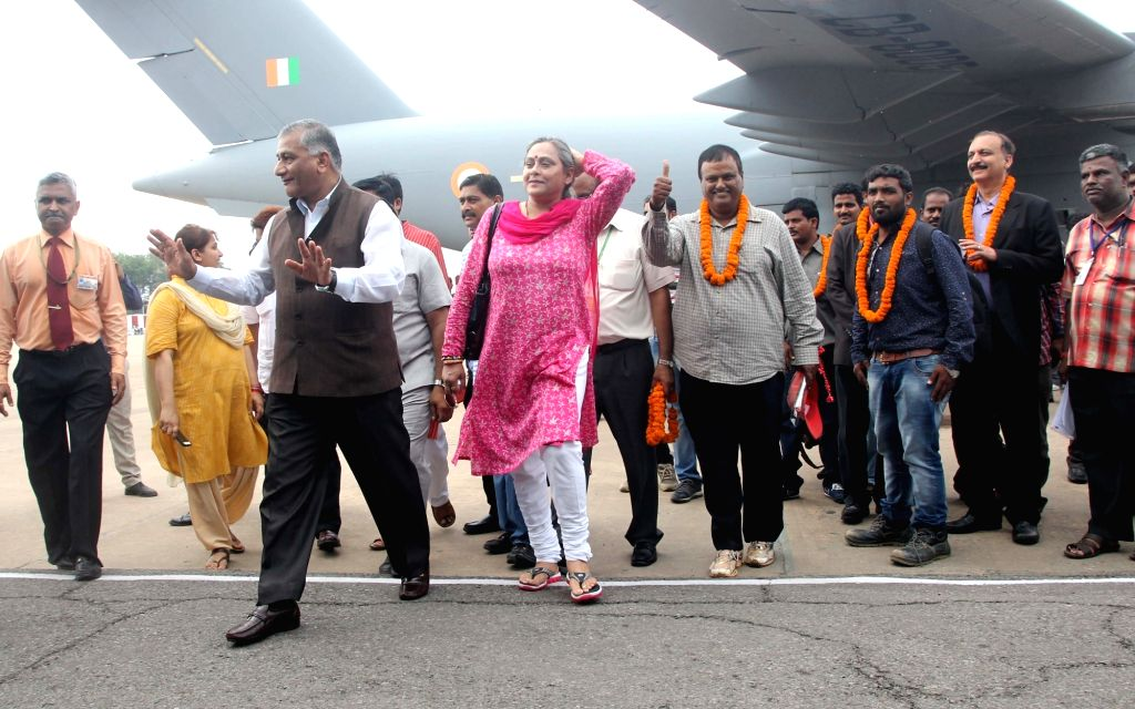 Union MoS External Affairs Gen (retd) VK Singh arrives at Palam Airport along with the Indians evacuated from violence hit South Sudan, in New Delhi, on July 15, 2016. The evacuation was ... - K. Singh