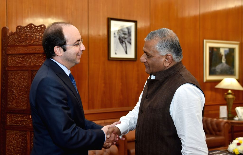 Union MoS External Affairs General (Retd.) V.K.Singh meets Morocco Health Minister Anas Doukkali, in New Delhi, on Dec 12, 2018. - Anas Doukkali