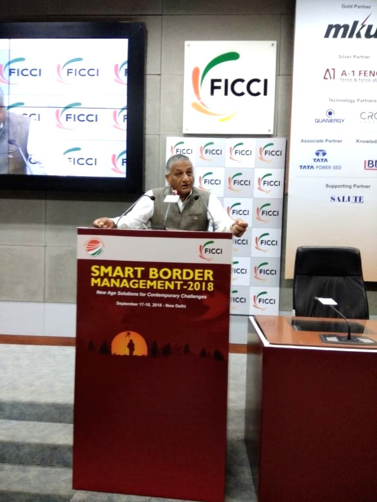 Union MoS External Affairs V.K. Singh addresses at the inaugural session of Smart Border Management 2018, in New Delhi, on Sept 17, 2018. - K. Singh