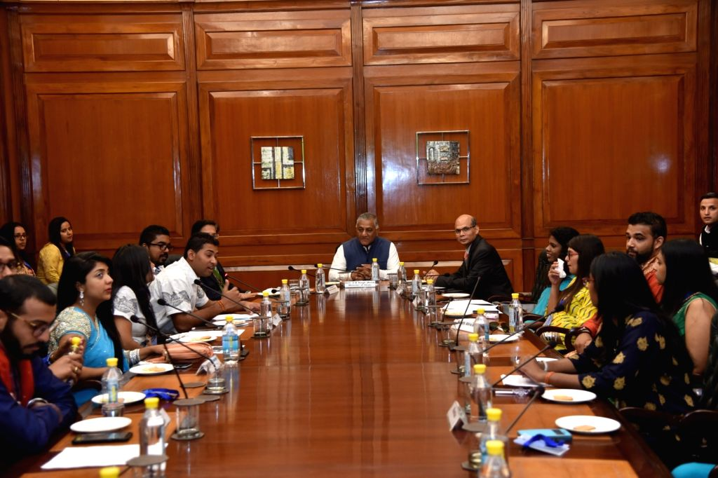 Union MoS External Affairs V.K. Singh during an interactive session with foreign youths of Indian origin participating in the 53rd Know India Programme, in New Delhi, on Feb 15, 2019. - K. Singh