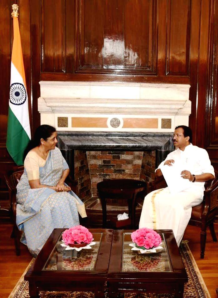 Union MoS External Affairs V. Muraleedharan meets Union Finance and Corporate Affairs Minister Nirmala Sitharaman in New Delhi on Aug 9, 2019. - Nirmala Sitharaman