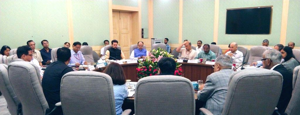 Union MoS Finance and Corporate Affairs Anurag Thakur chairs Pre-Budget Consultations with the representatives of Digital Economy and Startups, in New Delhi on June 15, 2019.