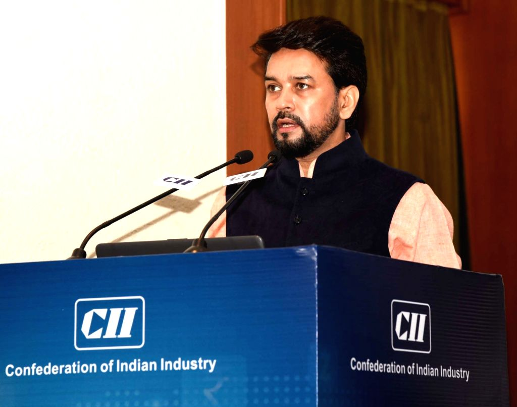 Union MoS Finance and Corporate Affairs Anurag Singh Thakur addresses at the Conference on Digital and Cashless Economy - the future of India???s Digital Payments, in New Delhi on July 26, ...