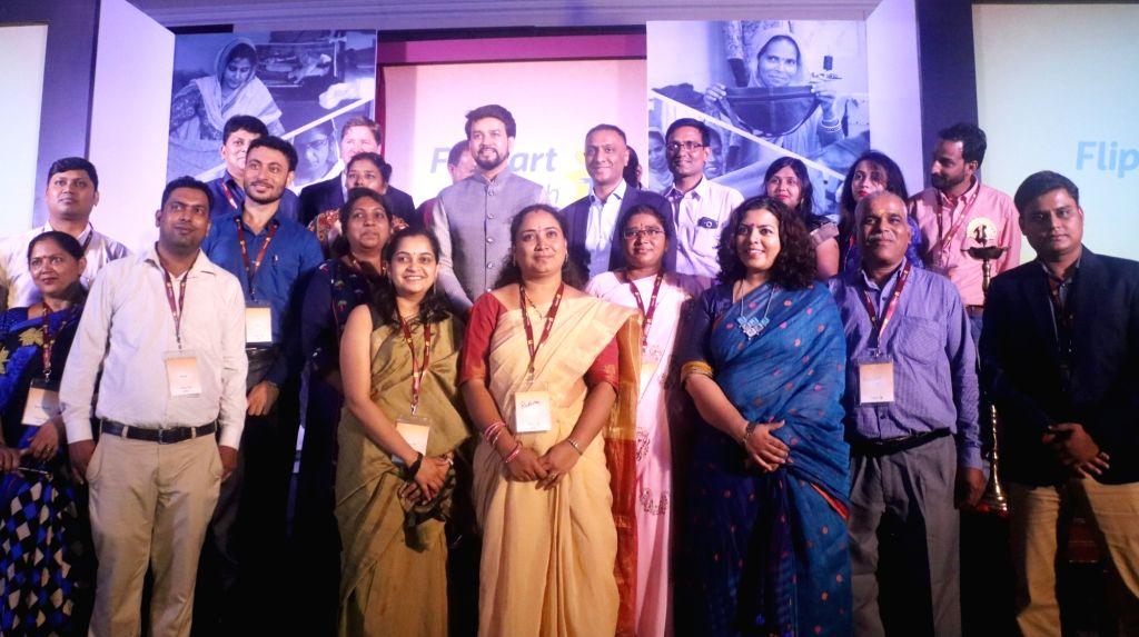 Union MoS Finance and Corporate Affairs Anurag Thakur and Flipkart CEO Kalyan Krishnamurthy at the launch of Flipkart 'Samarth' in New Delhi on July 31, 2019.