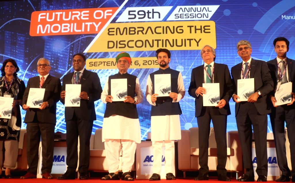 Union MoS Finance and Corporate Affairs Anurag Thakur, Union MoS Water Resources, River Development and Ganga Rejuvenation and Parliamentary Affairs Arjun Ram Meghwal and other dignitaries ...