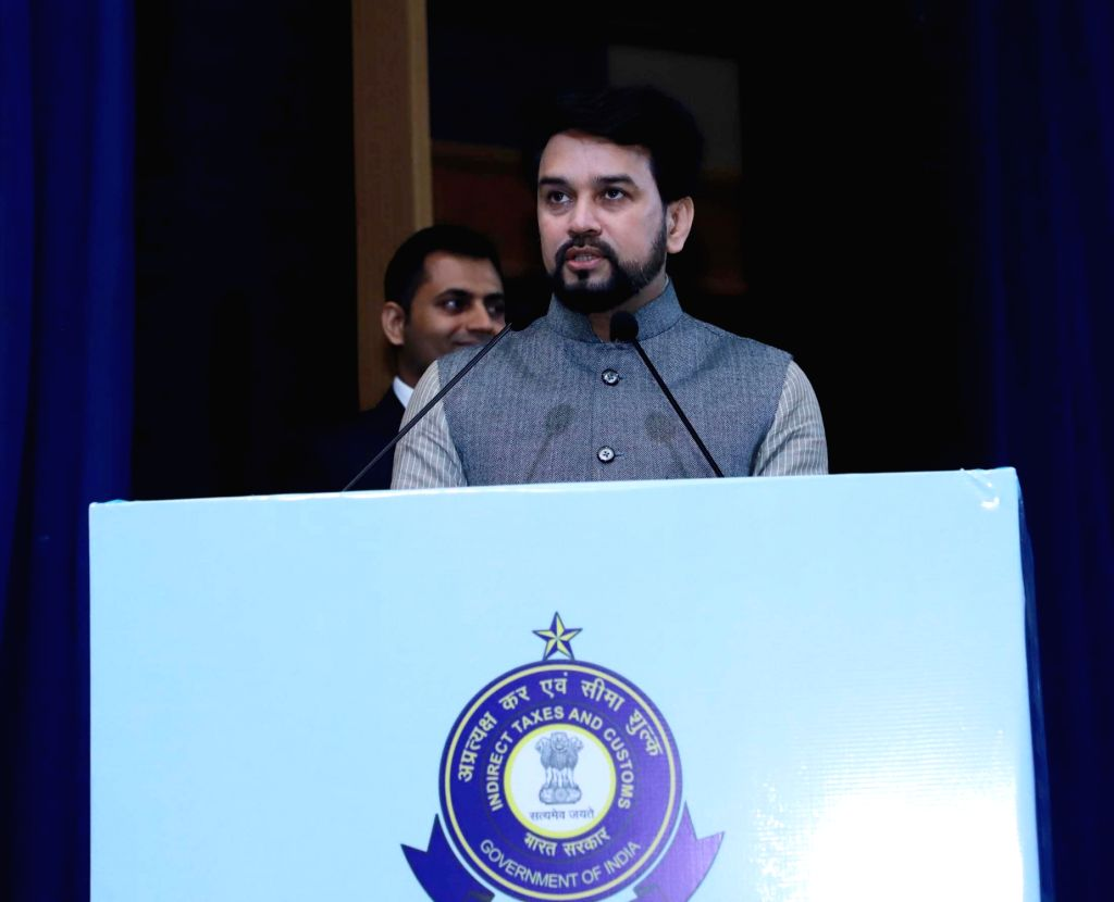 Union MoS Finance and Corporate Affairs Anurag Singh Thakur addresses at the Investiture Ceremony and International Customs Day 2020, in New Delhi on Jan 27, 2020.