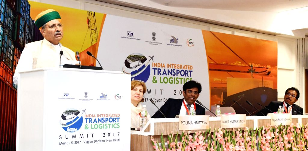 Union MoS Finance Arjun Ram Meghwal addressing at a session on Gateways: GST and Role of Digitisation for Congestion Reduction, during the India Integrated Transport & Logistics Summit ...