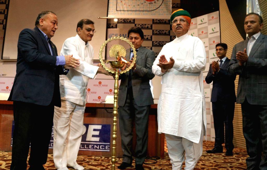 "Union MoS Finance Arjun Ram Meghwal during ""ASSOCHAM-CEAMA GST Summit for traders"" in New Delhi, on June 1, 2017."